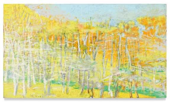 Wolf Kahn, <em>Yellow Predominates</em>, 2012. Oil on canvas, 30 x 52 inches. © 2020 Wolf Kahn / Licensed by VAGA at Artists Rights Society (ARS), NY