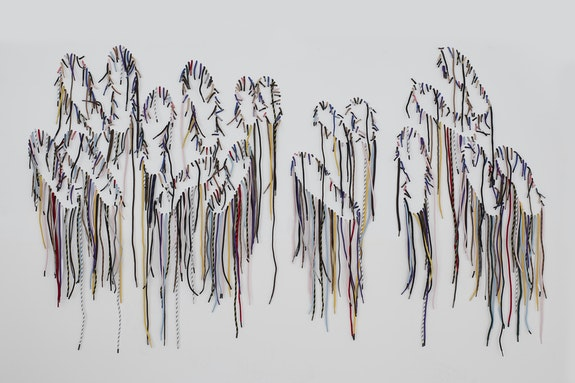 Nari Ward, <em>Sole Revel</em>, 2020. Shoelaces, 39 x 65 x 1.5 inches. Courtesy the artist and Lehmann Maupin, New York, Hong Kong, and Seoul.