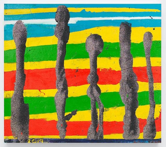 Chris Martin,<em> Trinidad Afternoon</em>, 2019. Oil, acrylic, collage and glitter on canvas. © Chris Martin, courtesy David Kordansky Gallery.