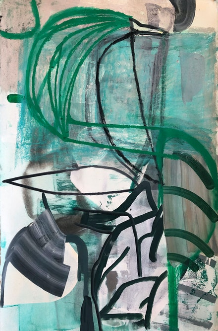 Amy Sillman, <em>Untitled</em>, 2019. Acrylic, oil stick and ink on paper. © Amy Sillman, courtesy Barbara Gladstone.