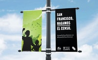Art+Action's Come to Your Census Campaign on Yerba Buena Center for the Arts Street Pole Banner Featuring Artwork by Art+Action Featured Artist, Innosanto Nagara. San Francisco. March 2020.