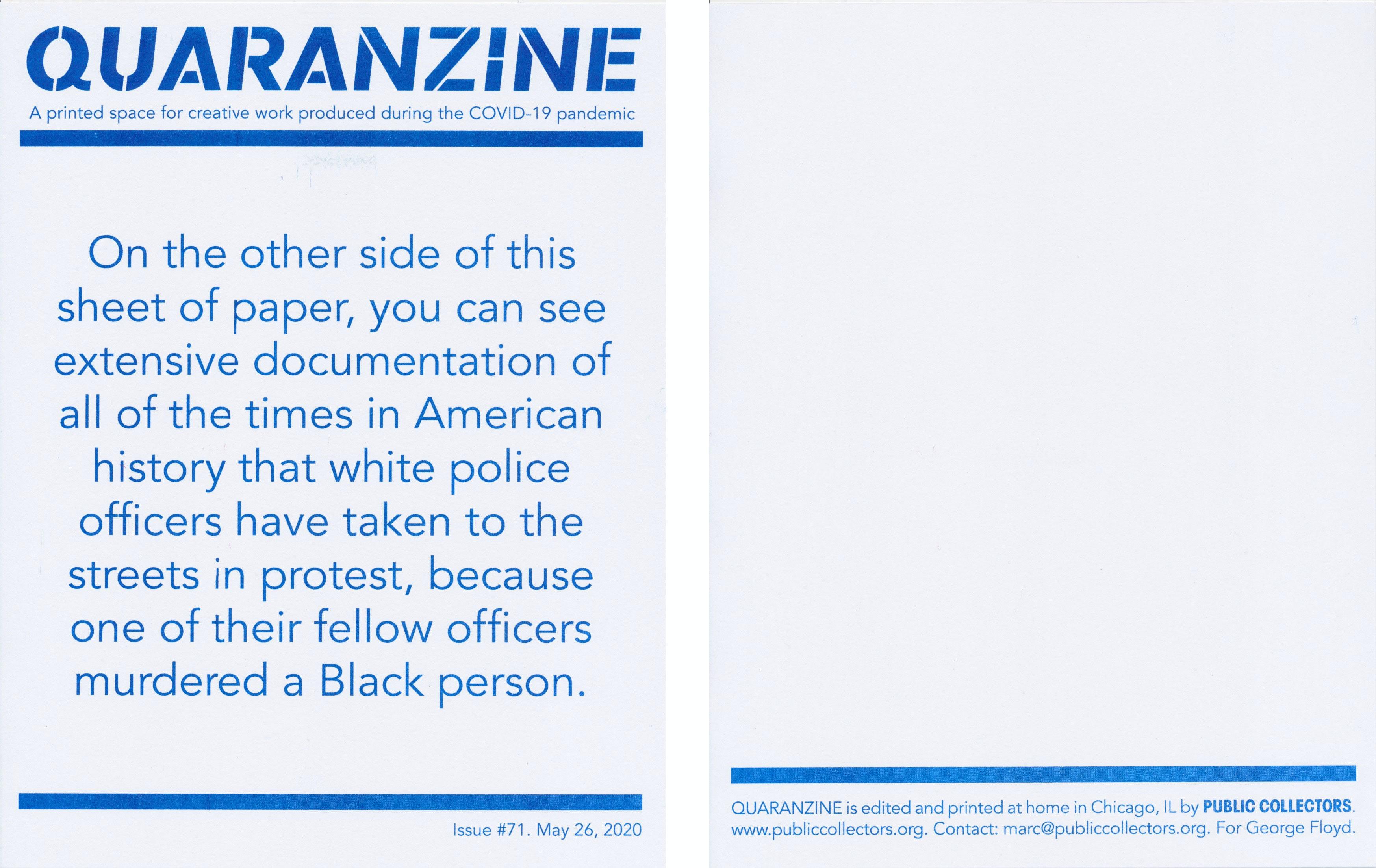 Quaranzine #71. Courtesy Public Collectors.