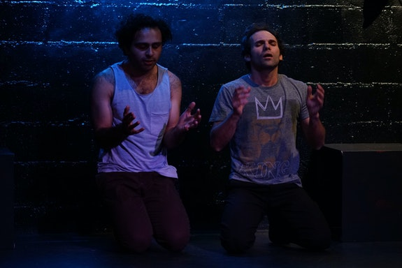 <em>Drowning in Cairo</em> by Adam Ashraf Elsayigh, directed by Celine Rosenthal. With actors Arif Silverman (L) and Fady Kerko (R). Photo: Sean Valsco Dodge.