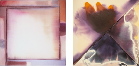 Left: Jo Smail, <em>Breath</em>, 1977. Acrylic on stitched canvas, 60 x 60 inches. Right: <em>Purple Space</em>, 1977. Acrylic on stitched canvas, 69 x 69 inches. (Both destroyed in a fire.)