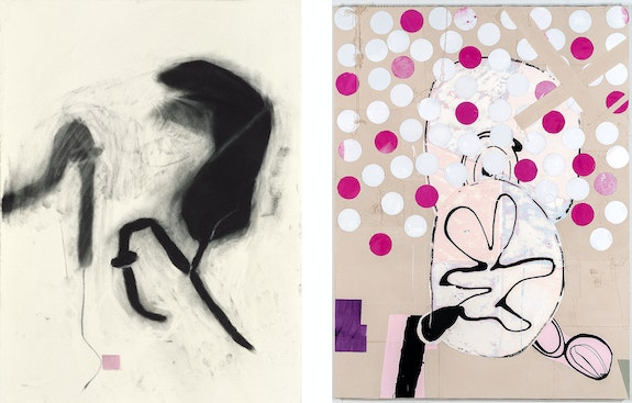 Left: Jo Smail, <em>Species of Love #20</em>, 2006-07. Charcoal and collage on paper, 30 x 22 inches. Right: <em>Dyed Eggs and Thongbells</em>, 2012. Oil, acrylic, enamel, pencil, and collage on canvas, 80 x 60 inches. Courtesy Goya Contemporary, Baltimore.