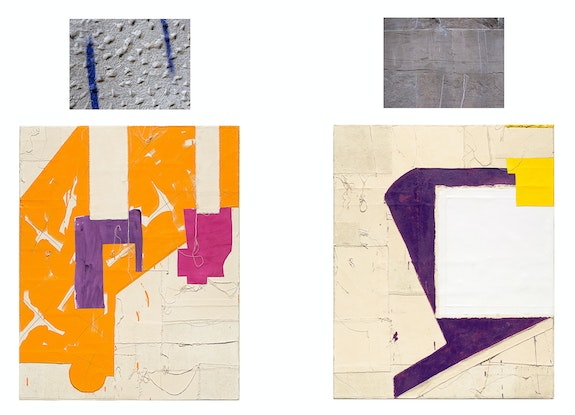 Left: Jo Smail, <em>Marmalade Heart</em>, 2014. Diptych: Acrylic, found fabric, pencil, collage on canvas, 50 x 40 inches, and archival digital print,  24 x 18 1/2 inches. Right: <em>Angel's Gaze</em>, 2014. Diptych: Acrylic, found fabric, pencil, collage on canvas 50 x 40 inches, and archival digital print,  24 x 18 1/2 inches. Courtesy Goya Contemporary, Baltimore.