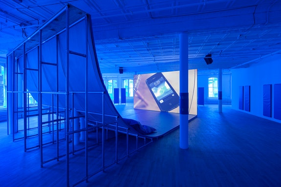 Hito Steyerl, <em>Liquidity, Inc.</em>. HD video with sound, 30 mins. Installation view: <em>Hito Steyerl</em>, Artists Space, 2015. Courtesy Artists Space, New York. Photo: Matthew Septimus.