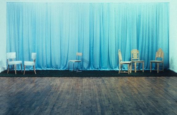 Scott Burton, <em>Pastoral Chair Tableau</em>, 1971–1974. Installation view from <em>Scott Burton, Pamela Jenrette</em>, Artists Space, 1975. Courtesy Artists Space, New York.