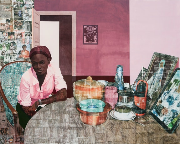 Njideka Akunyili Crosby, <em>Mama, Mummy and Mamma (Predecessors #2)</em>, 2014. Acrylic, color pencil, charcoal, and transfers on paper, 84 x 144 inches. Courtesy the artist. Photo: Mario Todeschini.