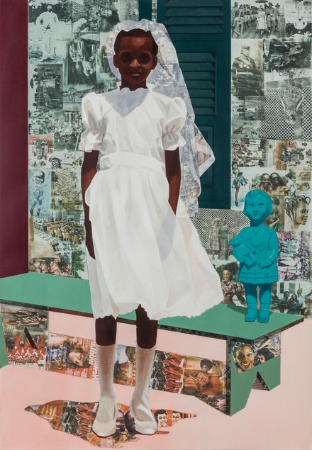 "Njideka Akunyili Crosby, <em>""The Beautyful Ones"" Series #4</em>, 2015. Acrylic, color pencil, and transfers on paper, 61 x 42 inches.Courtesy the artist.  Photo: Joshua White Photography."