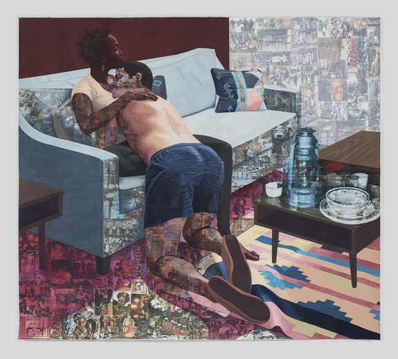 Njideka Akunyili Crosby, <em>Ike ya</em>, 2016. Acrylic, transfers, colored pencil, and charcoal on paper, 84 x 92 inches. Courtesy the artist. Photo: Brian Forrest.