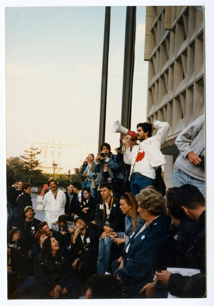 Gregg Bordowitz addressing a crowd in front of the Food and Drug Administration, October, 1988.