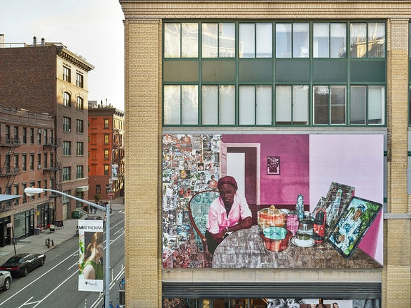Njideka Akunyili Crosby, <em>Before Now After</em>, 2015. Whitney Museum of Art mural. Courtesy the artist.