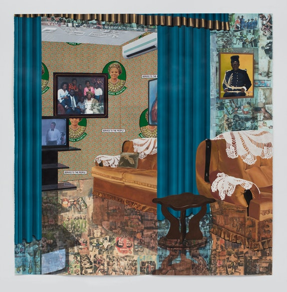 Njideka Akunyili Crosby, <em>Home: As You See Me</em>, 2017. Acrylic, transfers, colored pencil, charcoal, collage, and commemorative fabric on paper, 84 x 83 1/4 inches. Photo: Brian Forrest.