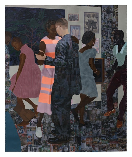 Njideka Akunyili Crosby, <em>When the Going Is Smooth and Good</em>, 2017. Acrylic, transfers, colored pencil, charcoal, and collage on paper, 101 x 83 1/2 inches. Courtesy the artist. Photo: Fredrik Nilsen Studio.