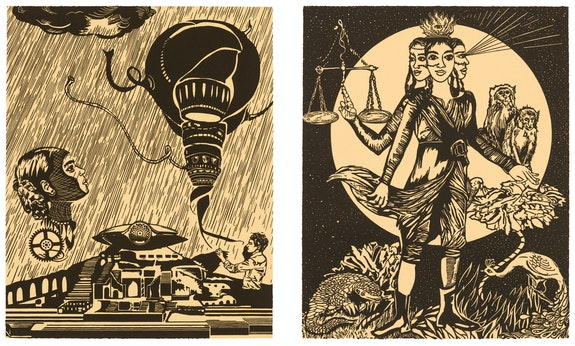 Chitra Ganesh, left: <em>Sultana's Dream: Water Storage</em>, right: <em>Sultana's Dream: Justice is Virtue</em>. Linocuts, 20 1/8 x 16 1/8 inches each. Courtesy the artist and Durham Press.