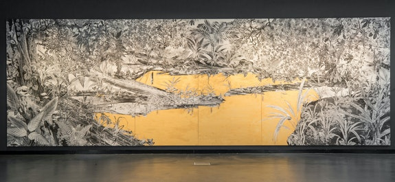 Tatiana Arocha, <em>El río en el que nos bañamos</em>, 2019. C-print on canvas hand-painted with gold acrylic, 25 1/2 x 8 1/2 feet. Photo: Timothy Lee Photographers.