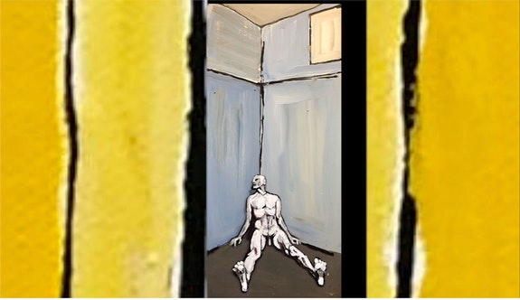<em>Cornered (Detainee's Lament).</em> Image: Performer and Animator, Peter Sparling