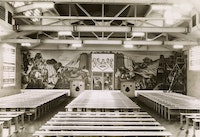 Figure 1: Installation view of <em>Man's Daily Bread</em> by Harold Lehman, Mess Hall, Rikers Island Penitentiary. Photograph by Shalat, January 20, 1941. (Mural destroyed in 1962). Collection of the Public Design Commission of the City of New York. For the 1939 New York World's Fair, the American Arts Today pavilion commissioned Lehman to create replicas of two details from his Rikers project. One of the details is modeled after the figure in the lower right corner. <em>The Driller</em>, 1937, is in the collection of the Smithsonian American Art Museum and is currently on loan to the Whitney Museum of American Art for the exhibition, <em>Vida Americana: Mexican Muralists Remake American Art, 1925-1945.</em>