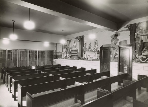 Figure 2: Installation view of <em>Reconstruction, Home and Family</em> by Anton Refregier, Visitors Waiting Room, Rikers Island Penitentiary. Photograph by Shalat, December 2, 1941. (Relocated in 1978). Collection of the Public Design Commission of the City of New York.