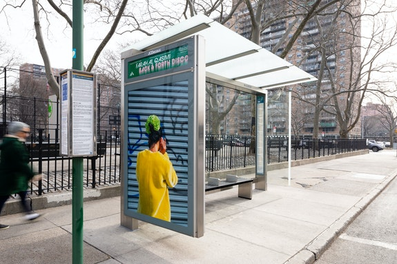 Farah Al Qasimi, <em>Woman on Phone</em>, 2019, Lorimer St between Boerum St and Montrose Ave, Brooklyn. Courtesy the artist; Helena Anrather, New York; and The Third Line, Dubai. Photo: James Ewing, Courtesy Public Art Fund, NY.