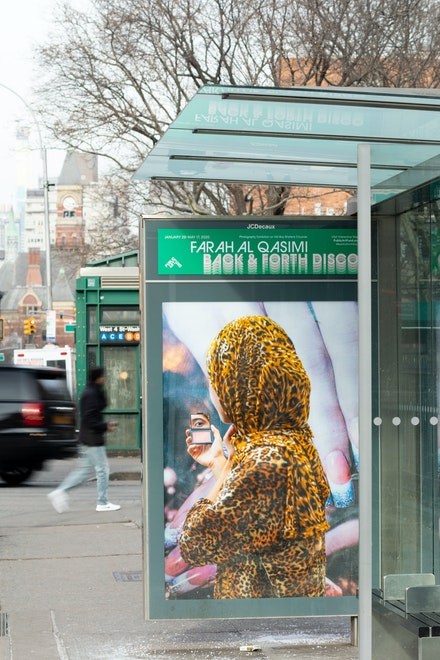 Farah Al Qasimi, <em>Woman in Leopard Print</em>, 2019, 6th Ave between Minetta Ln and W 3rd St, Manhattan. Courtesy the artist; Helena Anrather, New York; and The Third Line, Dubai. Photo: James Ewing, Courtesy Public Art Fund, NY.