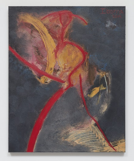 Elizabeth Ibarra, <em>Untitled (red figure)</em>, 2019. Acrylic on canvas. Courtesy Rental Gallery.