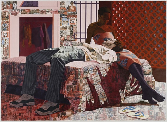 Njideka Akunyili Crosby, <em>Nwantinti</em>, 2012. Acrylic, pastel, charcoal, colored pencil, and Xerox transfers on paper, 68 x 96 inches. Courtesy the artist.