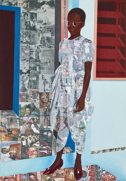 "Njideka Akunyili Crosby, <em>""The Beautyful Ones"" Series #1c</em>, 2014. Acrylic, transfers and colored pencil on paper, 60 x 42 inches. Courtesy the artist."