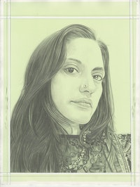 Portrait of Chitra Ganesh, pencil on paper by Phong H. Bui.