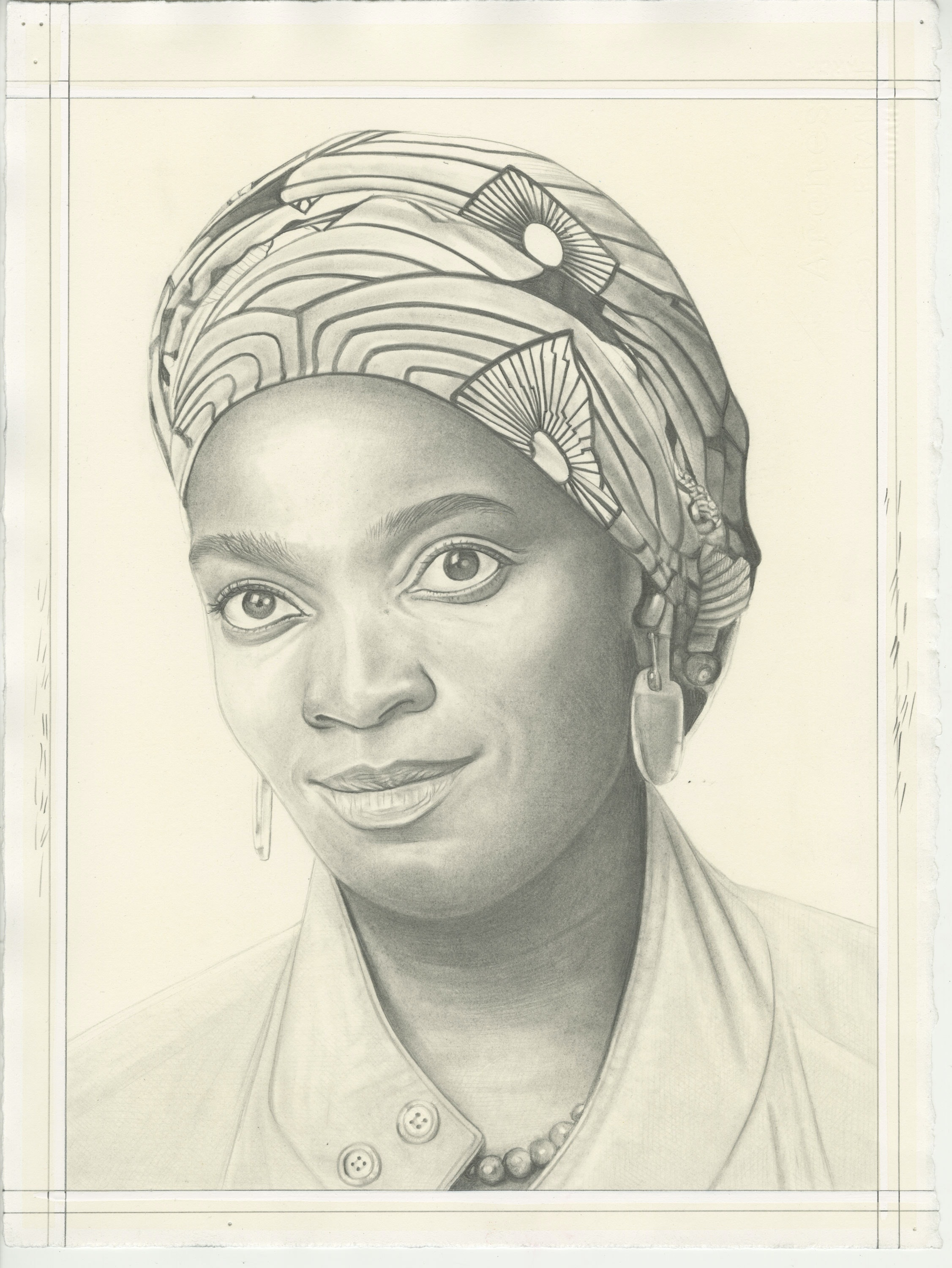 Portrait of Njideka Akunyili Crosby, pencil on paper by Phong H. Bui.