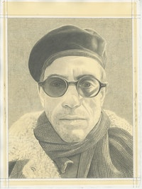 Portrait of Gregg Bordowitz, pencil on paper by Phong H. Bui.