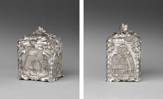 Paul de Lamerie, Sugar box, British, London, 1744/45. Silver, 5 5/8 x 3 7/16 x 4 5/16 inches. The Metropolitan Museum of Art, New York.