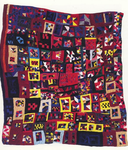 15.Rosie Lee Tompkins: Untitled, 1985. Quilted by Willia Ette Graham, 1985. Velvet, velveteen, velour, panné velvet, chenille, cotton-polyester broadcoth, and cotton backing, 87 in x 77 1/2 inches. Photo: Sharon Risedorph. © Estate of Effie Mae Howard.