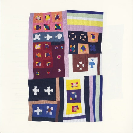 Rosie Lee Tompkins, <em>Thirty-six Nine-patch</em>, 1996. Quilted by Irene Bankhead, 1996. Polyester, polyester doubleknit, terrycloth, acrylic yarn; 120 x 86 inches. Photo: Sharon Risedorph. © Estate of Effie Mae Howard.
