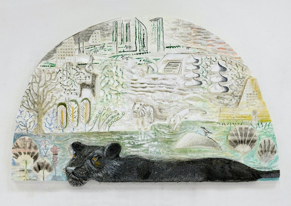 Lin May Saeed, <em>Panther Relief</em>, 2017. Polystyrene foam, acrylic paint, wood, 44 1/8 × 72 1/2 × 4 1/8 inches. Courtesy of the artist; Nicolas Krupp, Basel.