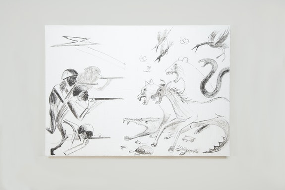 Lin May Saeed, <em>War</em>, 2006. Acrylic paint on polystyrene foam, 39 3/8 × 54 3/8 × 1 1/8 inches. Courtesy of the artist; Jacky Strenz, Frankfurt.