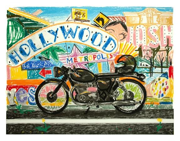 Erik Olson, <em>Los Angeles</em>, 2020. Oil pastel on copper plate etching, 12 3/4 x 16 3/4 inches. Courtesy Luis de Jesus, Los Angeles.