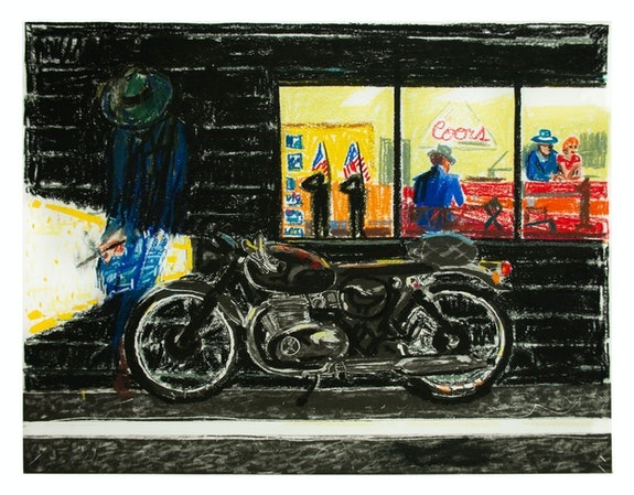 Erik Olson, <em>Minnesota</em>, 2020. Oil pastel on copper plate etching, 12 3/4 x 16 3/4 inches. Courtesy Luis de Jesus, Los Angeles.