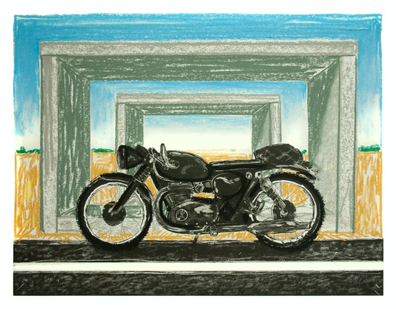 Erik Olson, <em>Marfa</em>, 2020. Oil pastel on copper plate etching, 12 3/4 x 16 3/4 inches. Courtesy Luis de Jesus, Los Angeles.