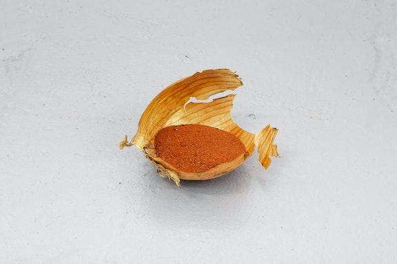 Laurie Kang, <em>Glean</em>, 2020. Onion skins, silicone, sand. Courtesy the artist and Franz Kaka, Toronto.