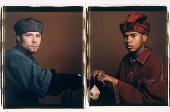 Dawoud Bey, <em>Brian and Paul</em>, 1993. Dye dispersion Polaroid prints (diptych), 30 x 44 inches. © Dawoud Bey. Courtesy the artist, Sean Kelly Gallery, Stephen Daiter Gallery, and Rena Bransten Gallery.
