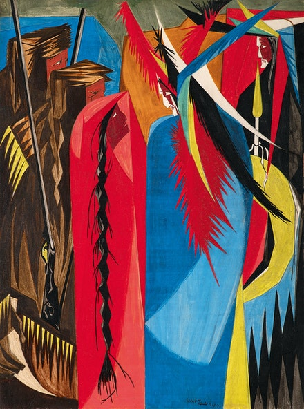 Jacob Lawrence, <em>In all your intercourse with the natives, treat them in the most friendly and conciliatory manner which their own conduct will admit . . . –Jefferson to Lewis & Clark, 1803</em>, 1956. Egg tempera on hardboard, 16 x 12 inches. Courtesy the Metropolitan Museum of Art, New York.