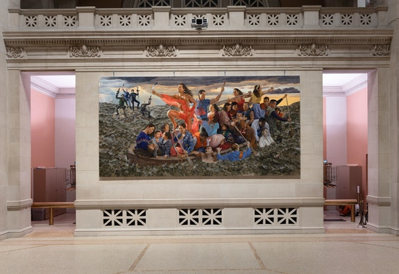 Installation view: <em>Kent Monkman: mistikôsiwak (Wooden Boat People)</em>, the Metropolitan Museum of Art, Great Hall Commission. Courtesy the Metropolitan Museum of Art, New York.