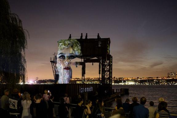 Installation view: <em>Tony Oursler: Tear of the Cloud</em>, Riverside Park South, New York, 2018. Courtesy the artist.