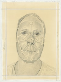 Portrait of Tony Oursler, pencil on paper by Phong H. Bui.