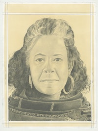 Portrait of Torkwase Dyson, pencil on paper by Phong H. Bui.