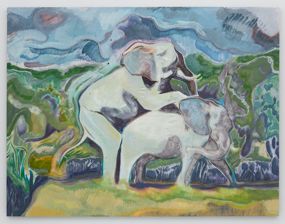 Michael Armitage, <em> Elephants</em>, 2015. Oil on Lubugo bark cloth,  67 x 87 inches. © Michael Armitage. Photo © White Cube (George Darrell).