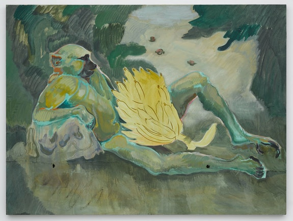 Michael Armitage, <em>Baboon</em>, 2016. Oil on Lubugo bark cloth, 59 1/16 x 78 3/4 inches. © Michael Armitage. Photo © White Cube (Ben Westoby).