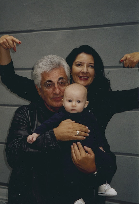 Marina with Germano and Argento Celant in Paris, 2000. Courtesy of the Marina Abramovic Archives